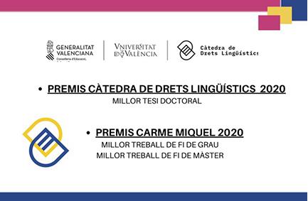 Premis 2020 Càtedra Drets Lingüístics UV